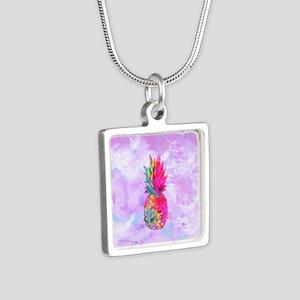 Bright Neon Hawaiian Pinea Silver Square Necklace
