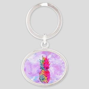 Bright Neon Hawaiian Pineapple Tropi Oval Keychain