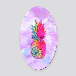 Bright Neon Hawaiian Pineapple Tro Oval Car Magnet