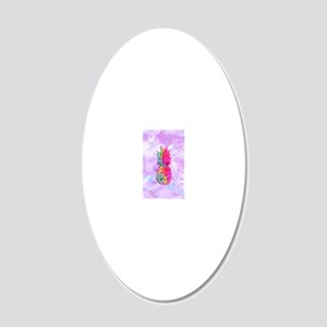 Bright Neon Hawaiian Pineapp 20x12 Oval Wall Decal