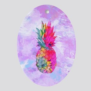 Bright Neon Hawaiian Pineapple Tropi Oval Ornament