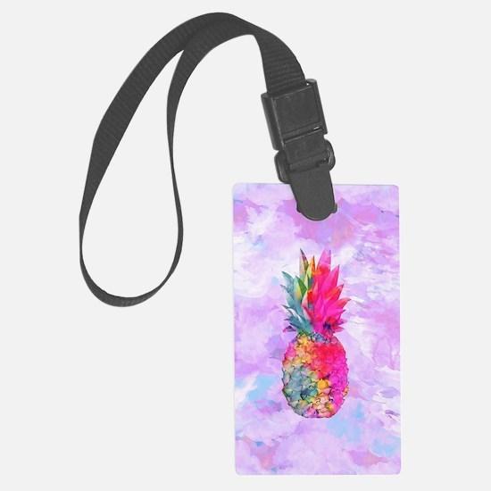 Bright Neon Hawaiian Pineapple T Large Luggage Tag