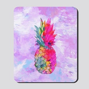 Bright Neon Hawaiian Pineapple Tropical  Mousepad