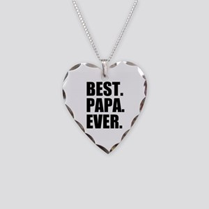 Best Papa Ever Necklace Heart Charm