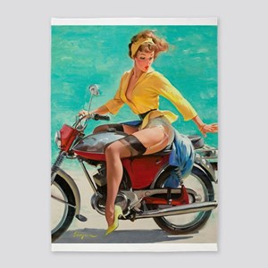 Pin Up Girl, Scooter, Vintage Poster 5'X7'area Rug