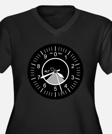 Flight Instruments Women's Plus Size V-Neck Dark T