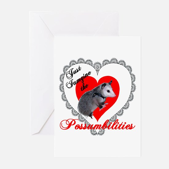 Possum Valentines Day Heart Greeting Cards (Packag