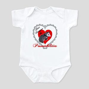 Possum Valentines Day Heart Infant Bodysuit