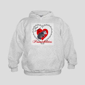 Possum Valentines Day Heart Kids Hoodie