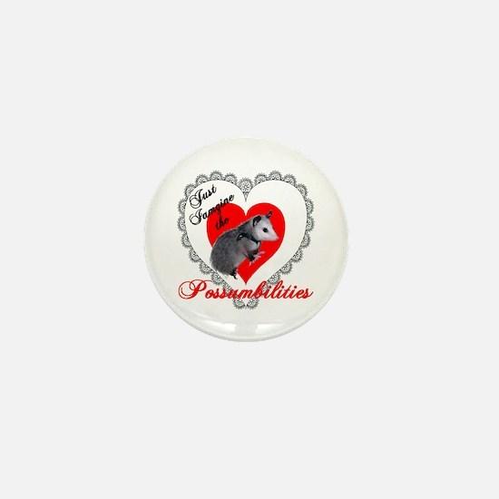 Possum Valentines Day Heart Mini Button
