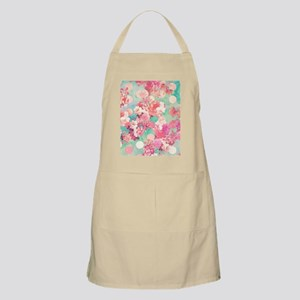 Romantic Pink Retro Floral Pattern Teal Polk Apron