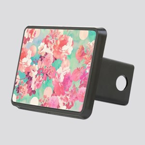 Romantic Pink Retro Floral Rectangular Hitch Cover