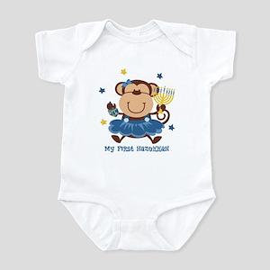 Monkey Girl 1st Hanukkah Infant Bodysuit