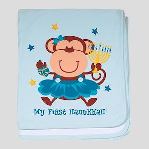 Monkey Girl 1st Hanukkah baby blanket