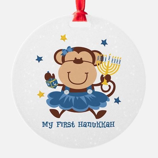 Monkey Girl 1st Hanukkah Ornament