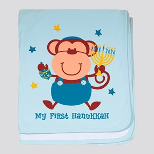 Monkey Boy 1st Hanukkah baby blanket