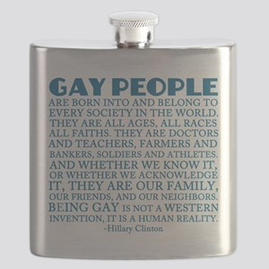 Gay People Clinton Quote Flask