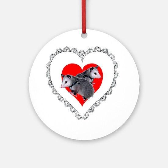 Possum Valentines Day Heart Ornament (Round)