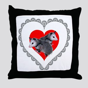 Possum Valentines Day Heart Throw Pillow