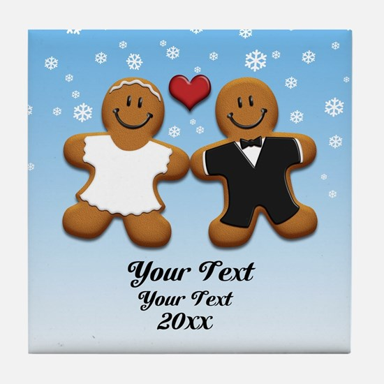 Personalize Gingerbread Bride and Groom Tile Coast