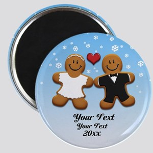 Personalize Gingerbread Bride and Groom Magnet