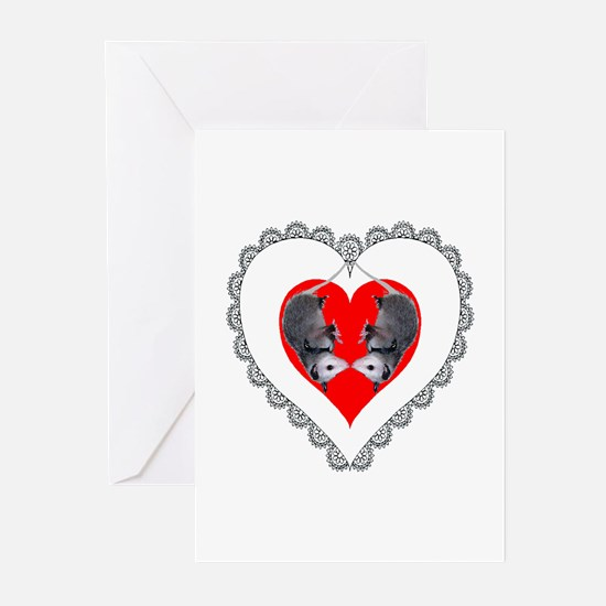 Opossum Valentines Day Heart Greeting Cards (Packa