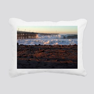 Ocean Wave Storm Pier Rectangular Canvas Pillow
