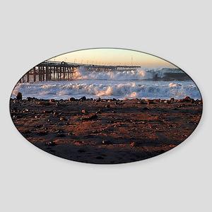 Ocean Wave Storm Pier Sticker (Oval)
