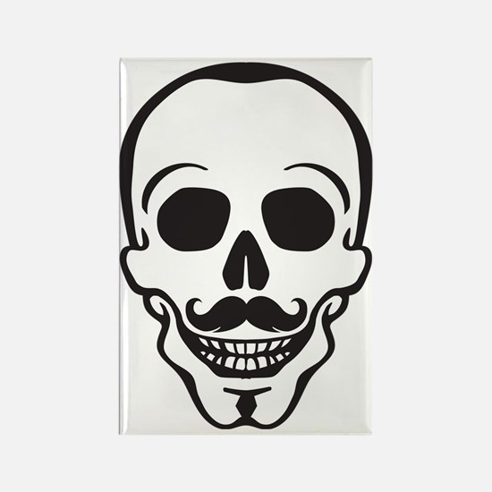 hipster scull with mustache Rectangle Magnet