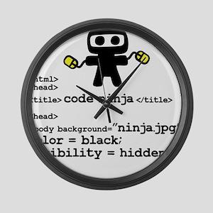 I code like a ninja Large Wall Clock