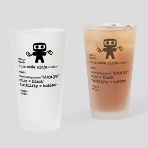I code like a ninja Drinking Glass