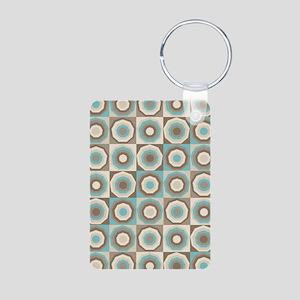 Retro style brown and aqua hexagon pattern Keychai