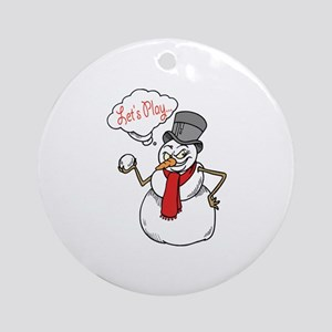 Let's Play Snowman Ornament (Round)