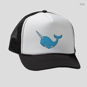 happy narwhal blue Kids Trucker hat