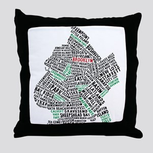 Brooklyn NYC Typography Art Throw Pillow