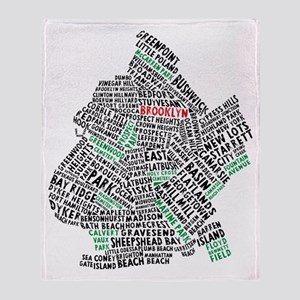 Brooklyn NYC Typography Art Throw Blanket