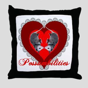 Possumbilities Valentines Day Throw Pillow