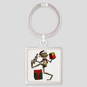 Dancing Holiday Santa Frog Silver Square Keychains