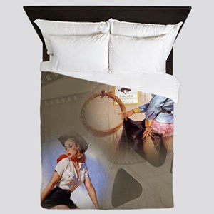 Rodeo Cowgirl Movie Pinups Queen Duvet