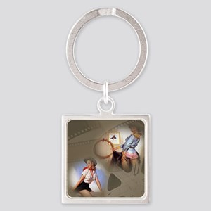 Rodeo Cowgirl Movie Pinups Square Keychain