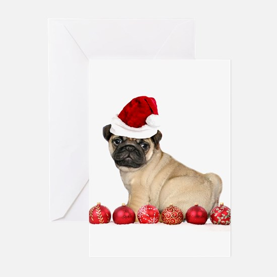 Christmas pug dog Greeting Cards