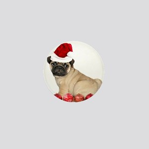 Christmas pug dog Mini Button