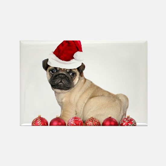 Christmas pug dog Magnets