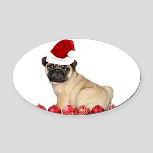 Christmas pug dog Oval Car Magnet