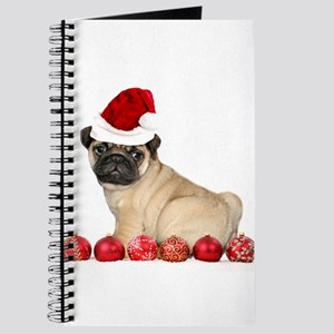 Christmas pug dog Journal