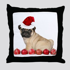 Christmas pug dog Throw Pillow