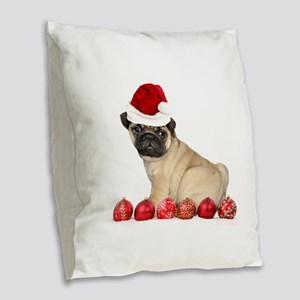 Christmas pug dog Burlap Throw Pillow