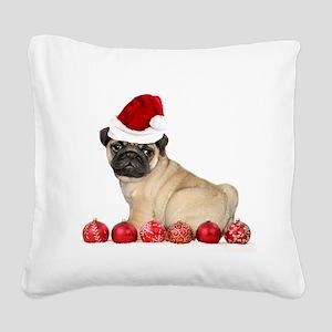 Christmas pug dog Square Canvas Pillow
