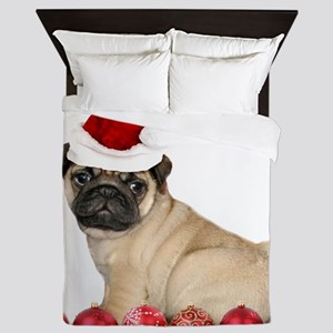 Christmas pug dog Queen Duvet