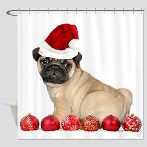 Christmas pug dog Shower Curtain